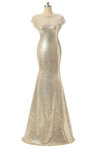 2016 Long Champagne Sequins Bridesmaid Dress/ Evening Dress AM476