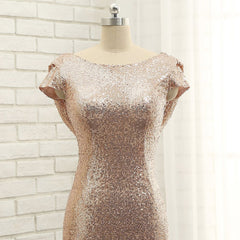 Long Rose Gold Sequins Bridesmaid Dress/ Evening Dress AM476