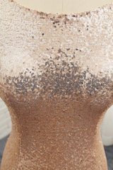 2016 Long Rose Gold Sequins Bridesmaid Dress/ Evening Dress AM476