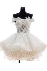 Lovely Off-the-shoulder Applique Short Wedding Dresses AM478