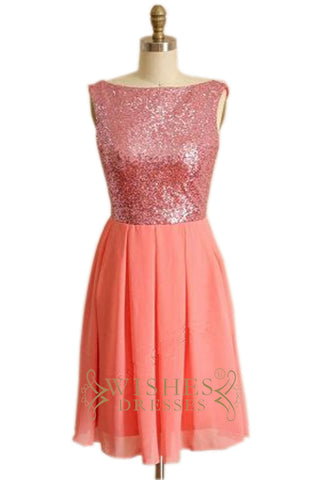 A-line Pink Sequins and Chiffon Bridesmaid Dress AM479