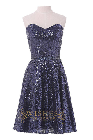 Short Shiny Dark Navy Sequins Bridesmaid Dress AM482