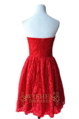 Red Strapless Lace Dress with Full Skirt Bridesmaid Dresses AM483-1