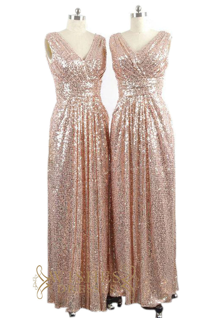A line long rose gold sequins bridesmaid dress maternity evening dre a line long rose gold sequins bridesmaid dress maternity evening dress am485 1 junglespirit Image collections