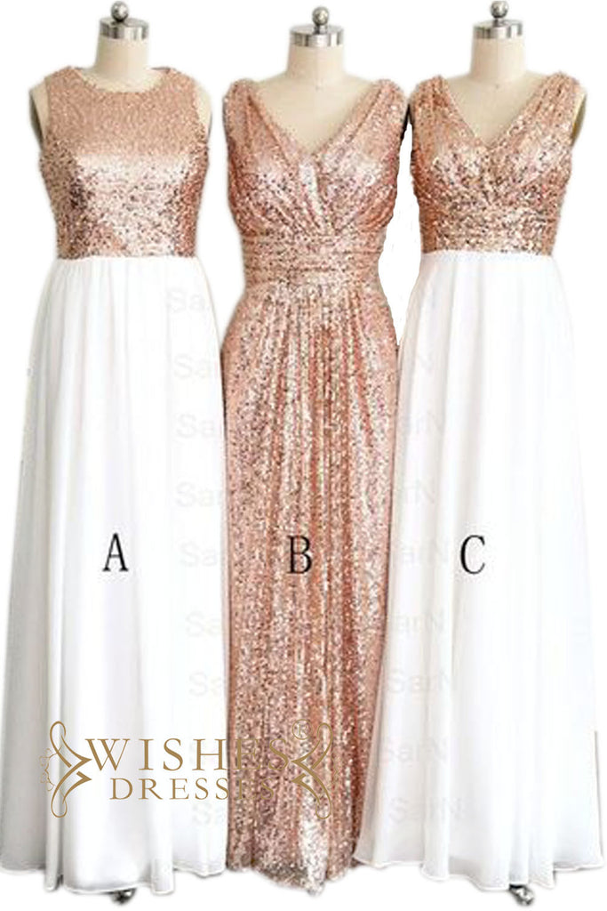 Long Rose Gold Sequins Bridesmaid Dress / Evening Dress AM458-1