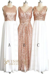 Bestselling Rose Gold Sequins Bridesmaid Dress / Evening Dress AM458