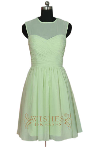 A-line Mint Chiffon Bridesmaid Dress