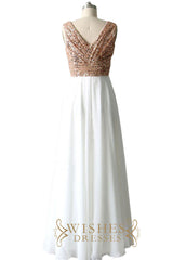 Rose Gold Sequins Top and Chiffon Bridesmaid Dress / Long Formal Dress AM488