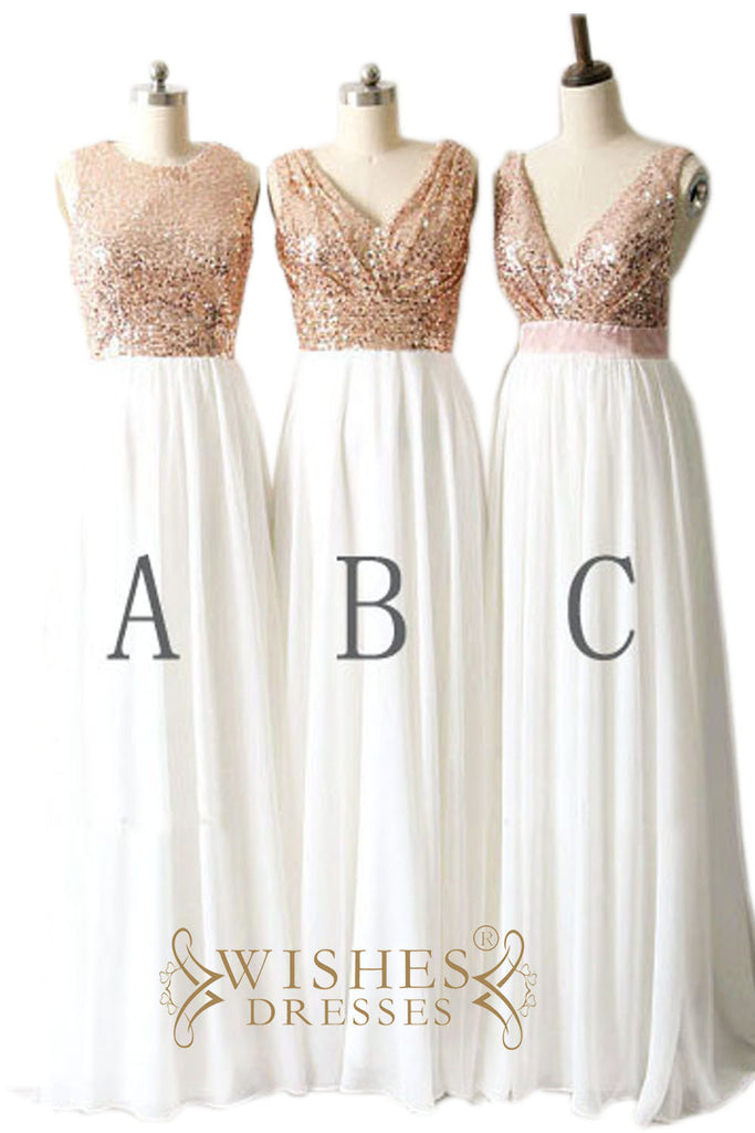 Rose Gold Sequins Top and Chiffon Bridesmaid Dress / Long Formal Dress