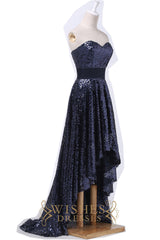 Dark Navy High Low Prom Dress AM489