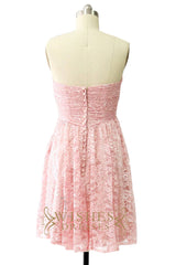 Pink Lace Covered Satin Short Dress Am495