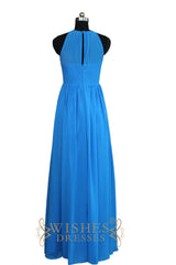 A-line Halter top With Keyhole Floor Length Bridesmaid Dresses Am501