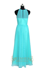 Cheap Royal Blue Halter top With Keyhole Chiffon Bridesmaid Dresses Am501-1