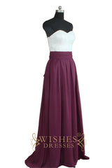 Lace Bodice Sweetheart Grape Bridesmaid Dress AM502