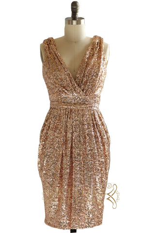 Column Tan Sequins Short Bridesmaid Dress/ Cocktail Dress AM506