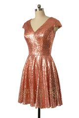 A-line Rose Gold Sequins Bridesmaid Dress /Cap Sleeves Mother Gown AM509