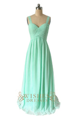 A-line Straps Blue Chiffon Floor Length Bridesmaid Dress AM511