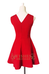 Scoop Red Satin Bridesmaid Dress AM515