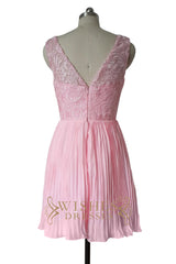 Pink Lace Top Pleated Skirt Bridesmaid Dress/ Prom Dresses AM516