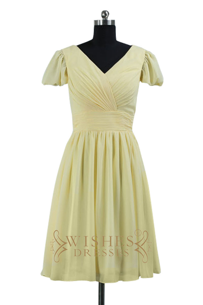 Short Sleeves Yellow Chiffon Bridesmaid Dresses AM520