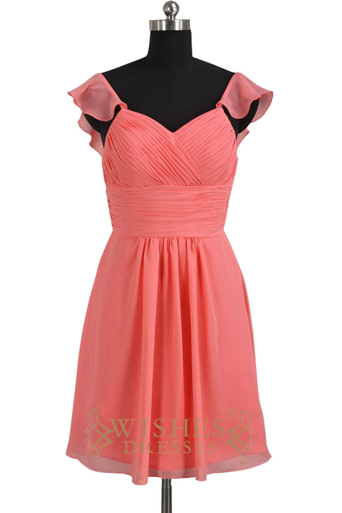 Ruffle Straps Coral Knee Length Bridesmaid Dress AM521