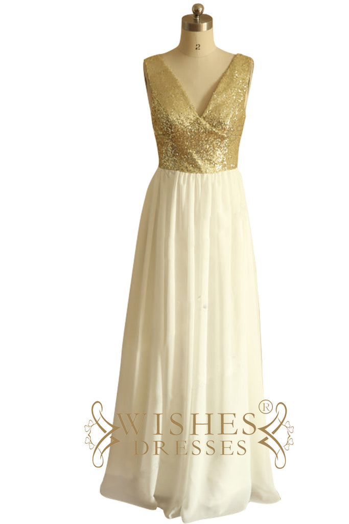 Gold Sequins Top White Chiffon Long Bridesmaid Dress AM524