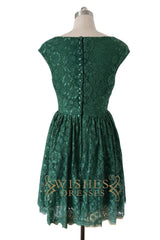 Hunter Green Lace Bridesmaid Dress AM527