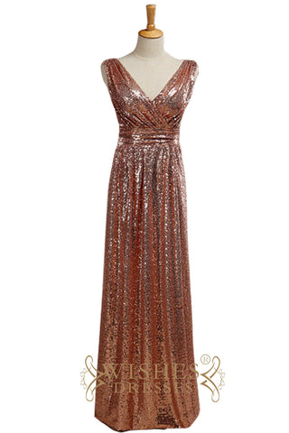 Cheap A-line Rose Gold Sequins Bridesmaid Dress AM535