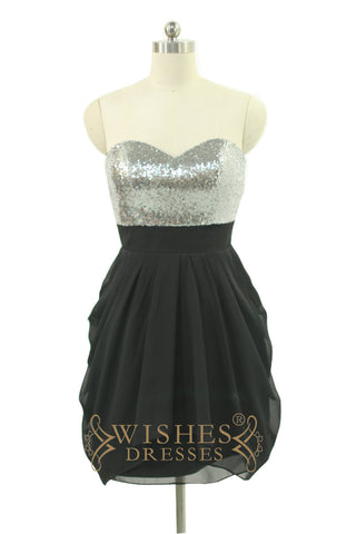 A-line Shiny Silver Sequins Black Chiffon Bridesmaid Dress AM536