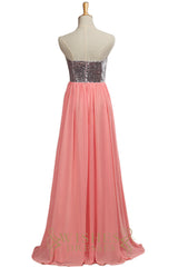 2016 Fall  SequinsDark Silver and Watermelon Chiffon Bridesmaid Dress AM537