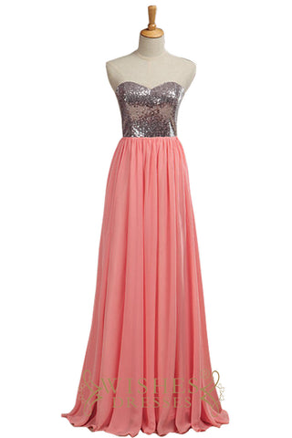 Fall  SequinsDark Silver and Watermelon Chiffon Bridesmaid Dress AM537