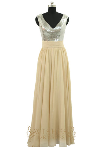 Fall Silver Sequins Chiffon Long Bridesmaid Dress AM539