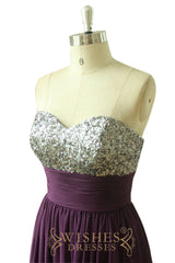 Empire Sequins Bodice Purple Long Prom Dress AM541