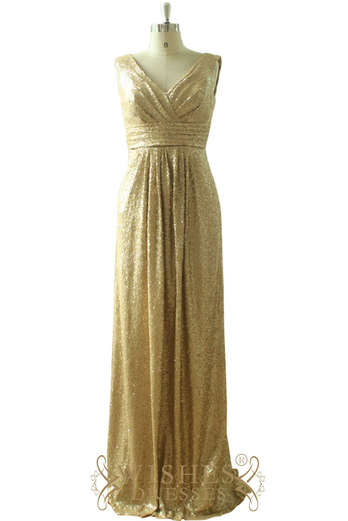 Gold Sequins Long Dress For Wedding
