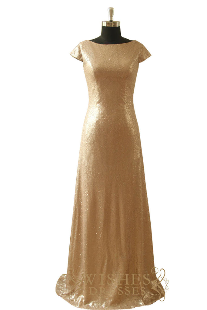 Gold Sequins Cap Sleeves Bridesmaid Dress/ Mother of the Bride Dress AM543-1