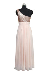 One Strap Sequins Pink Chiffon Prom Dresses Am545