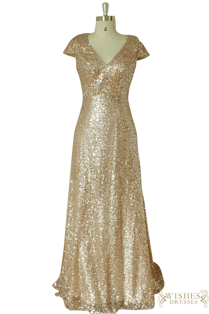 Cap Sleeves Sequins Bridesmaid Dress / Groom Mother Gown AM546