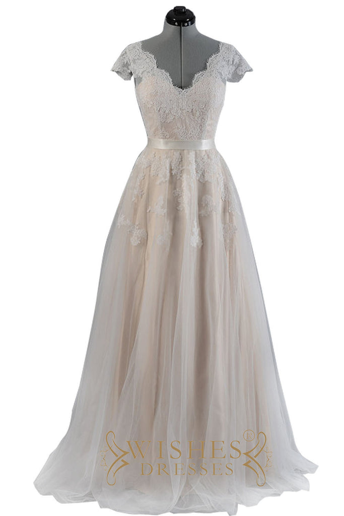 Wedding Dress With Cap Sleeves Am547