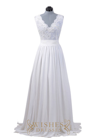 Lace Applique Long Beach Wedding Dresses AM548