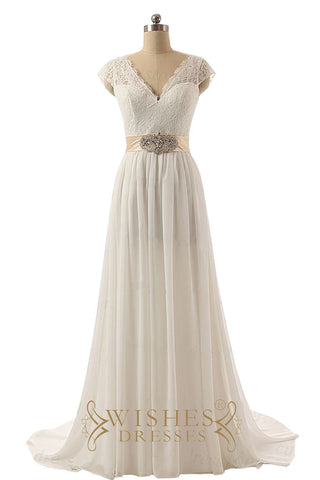 Cap Sleeves Deep V-cut Beach Wedding Dresses AM550