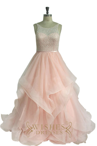 Bling Net Top Organza Formal Dress Am551