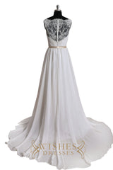 Illusion Back Lace Top Wedding Dress AM553