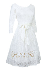 Short Lace Sheath with 3/4 Sleeves Wedding Dresses AM558