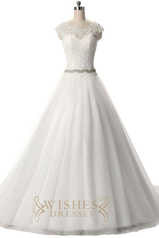 A-line Cap Sleeves Wedding Dress with Tulle Skirt AM559