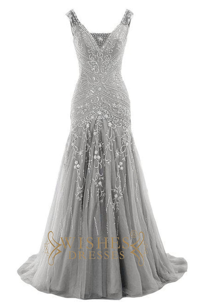 Mermaid Embroidery Silver Prom Dress AM560