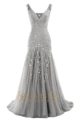 2017 Mermaid Embroidery Silver Prom Dress AM560