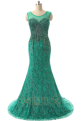 green lace prom dresses