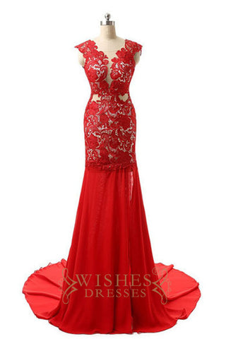 2017 Illusion Back Red Lace Long Formal Dress/ Prom Dresses AM562