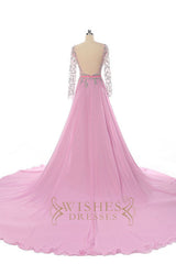 Long Sleeves Pink Evening Dress /Formal Dresses AM564