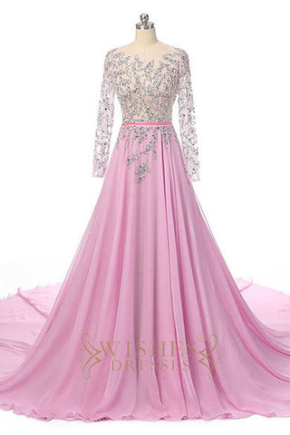 2017 Long Sleeves Pink Evening Dress /Formal Dresses AM564